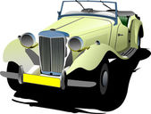 Seventy years old yellow cabriolet with opened roof. Vector ill — Stock Photo