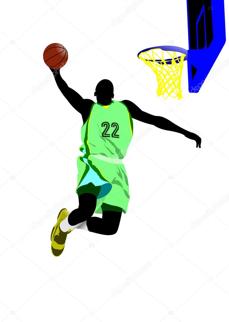 basketball players colored vector illustration for