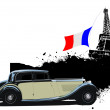 Cover for brochure with Paris and rarity closed roof cabriolet i — Stock Photo #5804693