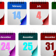 Seven abstract glossy calendar pages — Stock Photo