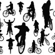 Eighteen  silhouettes with bicycle. Vector illustration - Stock Photo