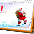 Vector illustration of desk calendar. 1 january. New Year - Stock Photo