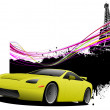 Yellow car sedan car on Paris image background. Vector illustrat — Stock Photo #5804725