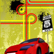 Cover for brochure with junction, traffic sign and red car imag — Stock Photo