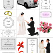 Big set of elements for wedding design. Vector illustration - Stock Photo