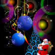 Christmas - New Year shine card with golden balls and Santa and — ストック写真
