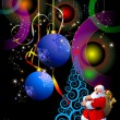Christmas - New Year shine card with golden balls and Santa and — Стоковая фотография