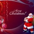 Christmas - New Year shine card with balls and Santa images. — Stock Photo #5804783