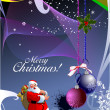 Christmas - New Year shine card with golden balls and Santa and — Stock Photo #5804798