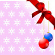 Snowflakes pink background with red ribbon and bow - Stok fotoğraf