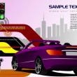 Abstract hi-tech background with purple cabriolet image. Vector - 图库照片