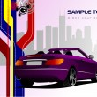Abstract hi-tech background with purple cabriolet image. Vector - Foto Stock
