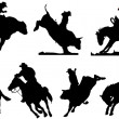 Seven rodeo silhouettes. Black and white Vector illustration - Stock Photo