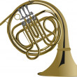 Music Instrument Series. Vector illustration of a french horn. - Stok fotoraf