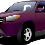 Purple mini-van on the road. Vector illustration — Stock Photo