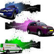 Three grunge Banners with cars. Vector illustration — Stock Photo