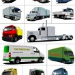Big set of Vector illustration of trucks. Lorry. — Stock Photo