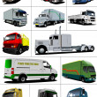 Big set of Vector illustration of trucks. Lorry. - Stock Photo
