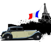 Cover for brochure with Paris and rarity closed roof cabriolet i — Stock Photo