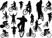 Eighteen silhouettes with bicycle. Vector illustration — Stock Photo
