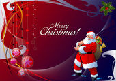 Christmas - New Year shine card with balls and Santa images. — Stock Photo