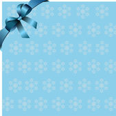Snowflakes blue background with blue ribbon and bow. Place for c — Stock Photo