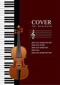 Cover for brochure with Piano with violin images. Vector illustr — Stock Photo