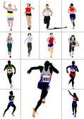 The running men and women. Vector illustration — Stock Photo