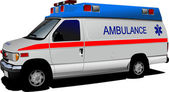 Modern ambulance van over white. Colored vector illustration — Stock Photo