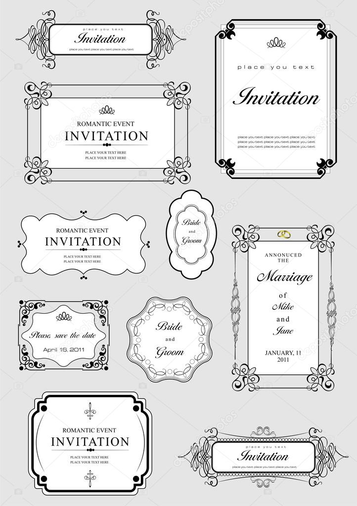Set of ornate vector frames and ornaments with sample text. Perfect as invitation or announcement. All pieces are separate. Easy to change colors and edit.  Stock Photo #5804664