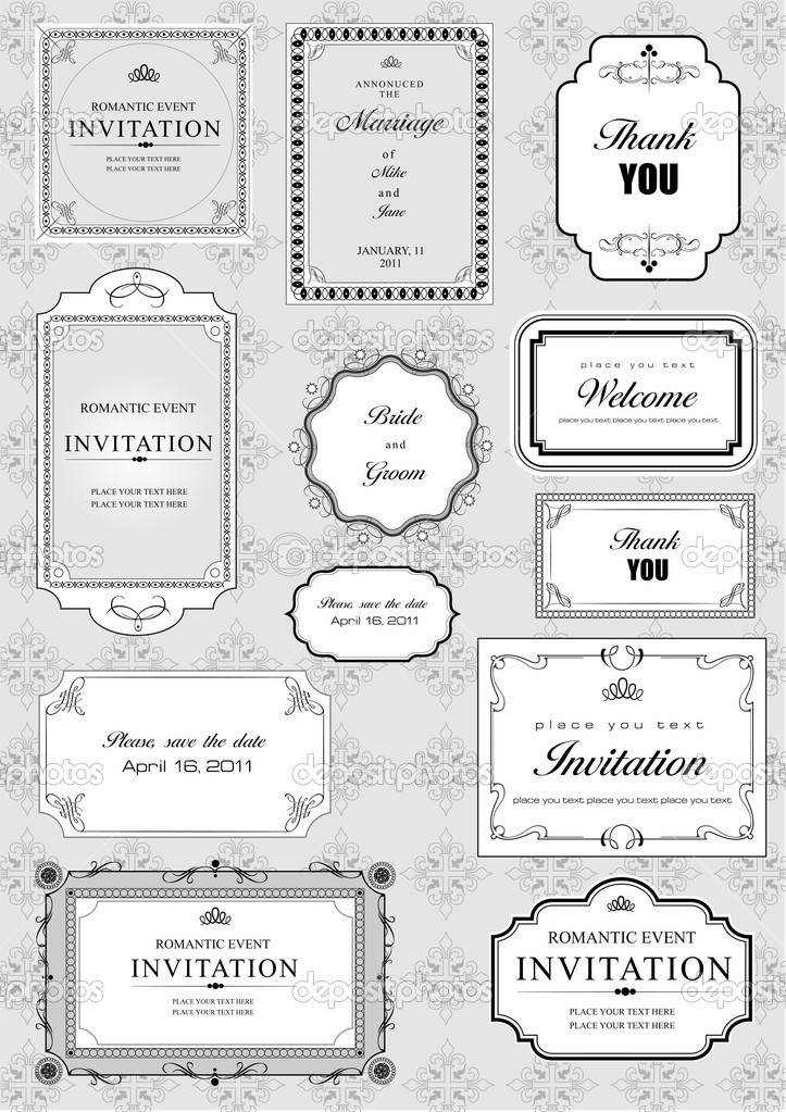 Set of ornate vector frames and ornaments with sample text. Perfect as invitation or announcement. All pieces are separate. Easy to change colors and edit. — Stock Photo #5804707