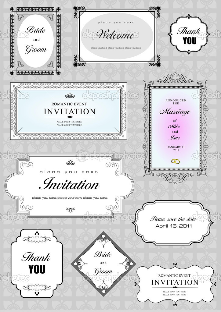 Set of ornate vector frames and ornaments with sample text. Perfect as invitation or announcement. All pieces are separate. Easy to change colors and edit. — Foto de Stock   #5804720