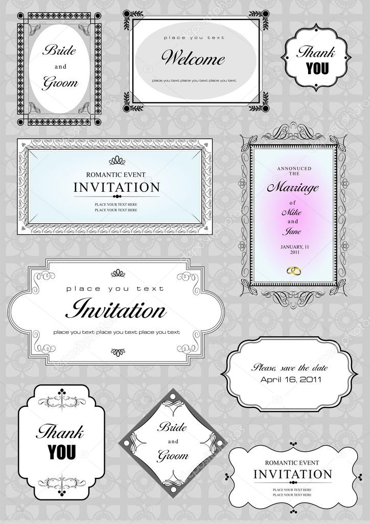 Set of ornate vector frames and ornaments with sample text. Perfect as invitation or announcement. All pieces are separate. Easy to change colors and edit.  Stockfoto #5804720
