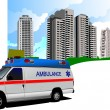 Dormitory and ambulance. Vector illustration — Stock Photo