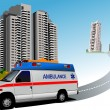 Dormitory and ambulance. Vector illustration - Stock Photo
