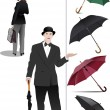 Four types of opened rain umbrella. Woman and gentleman with umb — Stock Photo