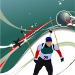 Biathlon runner colored silhouettes. Vector illustration - Foto Stock