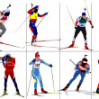 Eight biathlon runners. Colored Vector illustration - Foto Stock