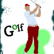 Golfer hitting ball with iron club. Vector illustration - Foto Stock