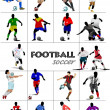 The big set of soccer (football) players. Colored vector illustr — Stock Photo