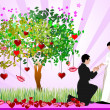 Decorative Valentine`s Day tree with hearts, lips, bride and gro — Stock Photo