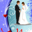 Stock Photo: Valentine`s Day greeting card with bride and groom image. Vector
