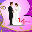 Valentine`s Day  Greeting Card with bride and groom images. Vect — Foto Stock