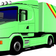 Vector illustration of green truck — Stock Photo