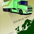 Cover for brochure or template with Europe silhouette and truck — Stock Photo