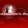 Stock Photo: Valentine`s Day red background with bride and groom. 14 February