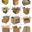 Big Set of carton packaging boxes isolated over a white backgrou - Stock Photo