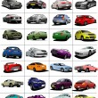 Big set of 32 kinds cars on the road. Vector illustration — Stock Photo