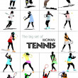 Big set of Woman Tennis player. Colored Vector illustration for - Foto Stock