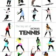 Big set of Woman Tennis player. Colored Vector illustration for - Zdjęcie stockowe